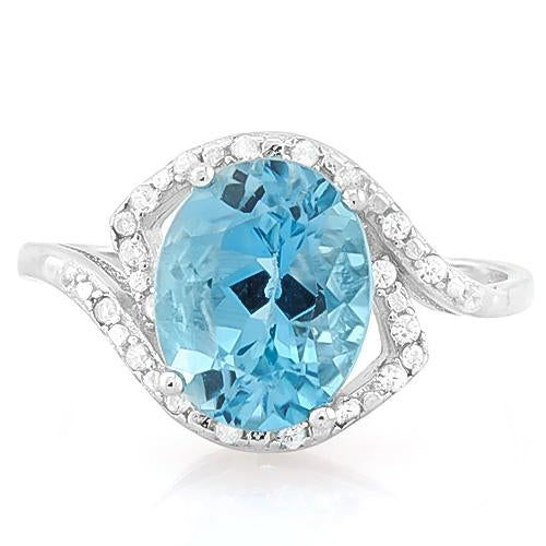 SMASHING ! BABY SWISS BLUE TOPAZ & 1/4 CARAT (34 PCS) FLAWLESS CREATED DIAMOND 925 STERLING SILVER RING
