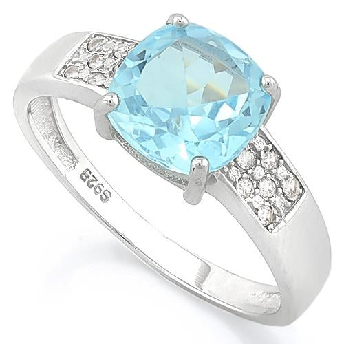 IRRESISTIBLE ! BABY SWISS BLUE TOPAZ & 1/4 CARAT (34 PCS) FLAWLESS CREATED DIAMOND 925 STERLING SILVER RING