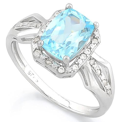 SUPERB ! BABY SWISS BLUE TOPAZ & 1/5 CARAT (32 PCS) FLAWLESS CREATED DIAMOND 925 STERLING SILVER RING