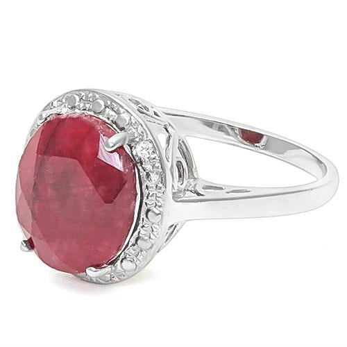 5 3/5 CT ENHANCED GENUINE RUBY & DIAMOND 925 STERLING SILVER RING