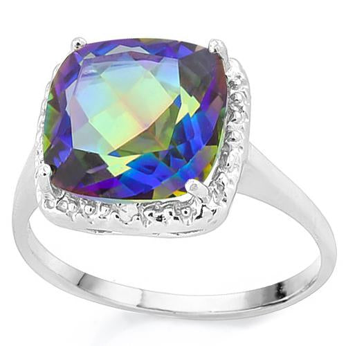 4 1/3 CT OCEAN MYSTIC GEMSTONE & DIAMOND 925 STERLING SILVER RING