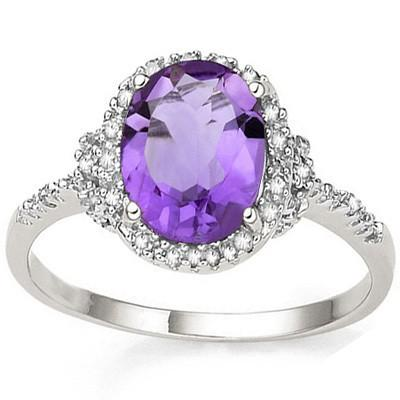 2 3/5 CT AMETHYST & DIAMOND 925 STERLING SILVER RING