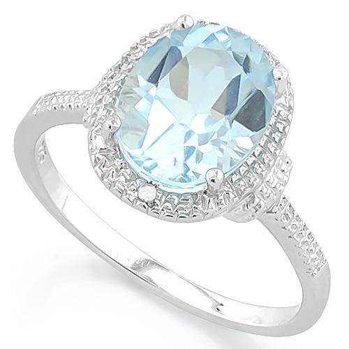 SPARKLING ! 3 1/5 CARAT BABY SWISS BLUE TOPAZ & DIAMOND 925 STERLING SILVER RING