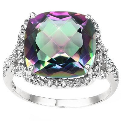 PRETTY 6.72 CT MYSTIC GEMSTONE & 18 PCS WHITE DIAMOND 10K SOLID WHITE GOLD RING