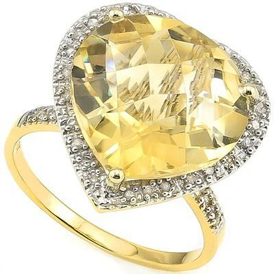 SPARKLING 8.00 CT CITRINE & 33 PCS WHITE DIAMOND 10K SOLID YELLOW GOLD RING