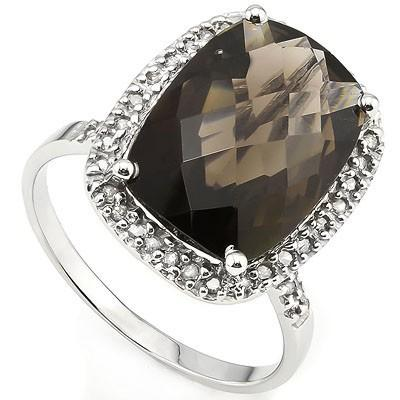 ASTONISHING 5.75 CT SMOKEY TOPAZ & 38 PCS WHITE DIAMOND 10K SOLID WHITE GOLD RING