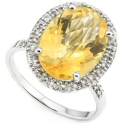 PRICELESS 5.50 CT CITRINE & 32 PCS WHITE DIAMOND 10K SOLID WHITE GOLD RING