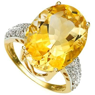 PERFECT 12.22 CT CITRINE & 18 PCS WHITE DIAMOND 10K SOLID YELLOW GOLD RING