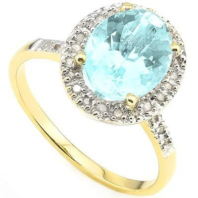 PRETTY 2.88 CT BLUE TOPAZ & 28 PCS WHITE DIAMOND 10K SOLID YELLOW GOLD RING