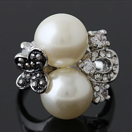 PRETTY ! 18K GOLD PLATED MAN-MAKE PEARL DESIGNER RING
