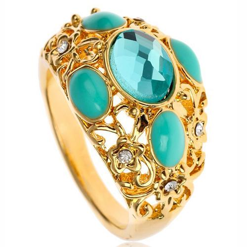 PRETTY ! 18K GOLD PLATED CREATED BLUE TOPAZ DESIGNER RING