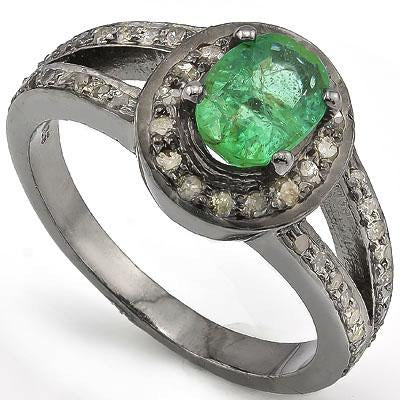 PRETTY 1.00 CT GENUINE EMERALD & 52 PCS GENUINE DIAMOND 14K BLACK GOLD PLATED OVER 925 SILVER RING VICTORIAN RING