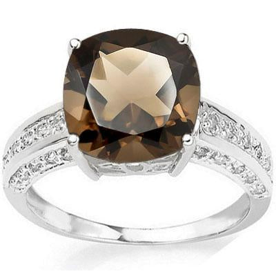 EXQUISITE 5.50 CT SMOKEY TOPAZ & 30PCS GENUINE DIAMOND 10K SOLID WHITE GOLD RING