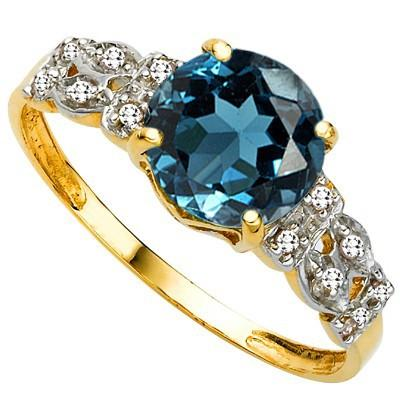 AMAZING 2.36 CT LONDON BLUE TOPAZ & 12 PCS GENUINE DIAMOND 10K SOLID YELLOW GOLD RING