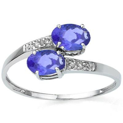 STUNNING 0.07 CT GENUINE TANZANITE & 4 PCS GENUINE DIAMOND 10K SOLID WHITE GOLD RING