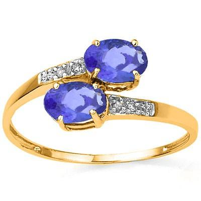 ALLURING 0.93 CT GENUINE TANZANITE & 4 PCS WHITE DIAMOND 10K SOLID YELLOW GOLD RING
