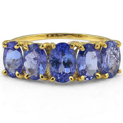 PERFECT 2.24 CT GENUINE TANZANITE 10K SOLID YELLOW GOLD RING