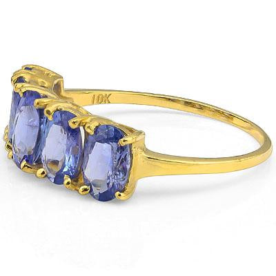 PERFECT 2.20 CT GENUINE TANZANITE 10K SOLID YELLOW GOLD RING