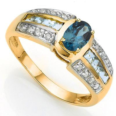 EXCLUSIVE 0.58 CT LONDON BLUE TOPAZ & 8 PCS BLUE TOPAZ 10K SOLID YELLOW GOLD RING