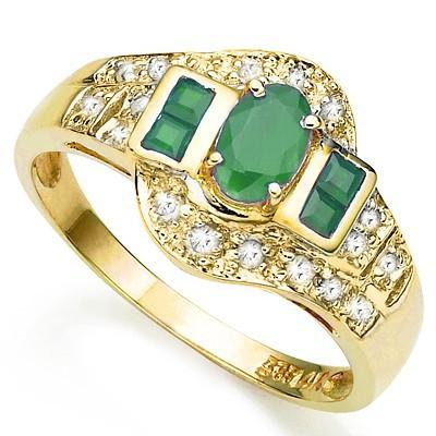 EXCELLENT ! 3/5 CARAT EMERALD & (20 PCS) DIAMOND10KT SOLID GOLD RING