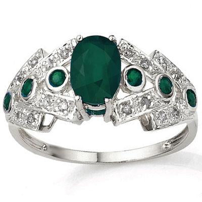 CAPTIVATING 0.88 CT GENUINE EMERALD & 6 PCS GENUINE EMERALD 10K SOLID WHITE GOLD RING