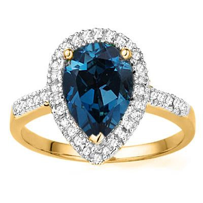 CAPTIVATING 2.26 CT LONDON BLUE TOPAZ & 7 PCS GENUINE DIAMOND 10K SOLID YELLOW GOLD RING