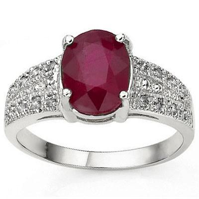 AWESOME 1.82 CT AFRICAN RUBY & 16 PCS WHITE DIAMOND 10K SOLID WHITE GOLD RING