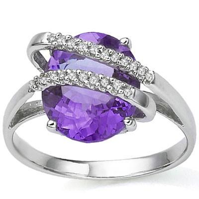 EXCLUSIVE 5.454 CARAT TW (23 PCS) AMETHYST & GENUINE DIAMOND 10K SOLID WHITE GOLD RING