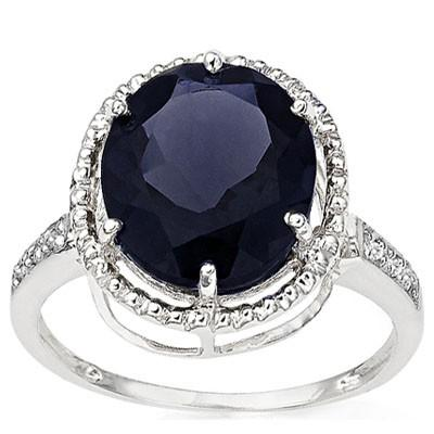 GLAMOROUS 5.74 CARAT TW (7 PCS) GENUINE BLACK SAPPHIRE & GENUINE DIAMOND 10K SOLID WHITE GOLD RING