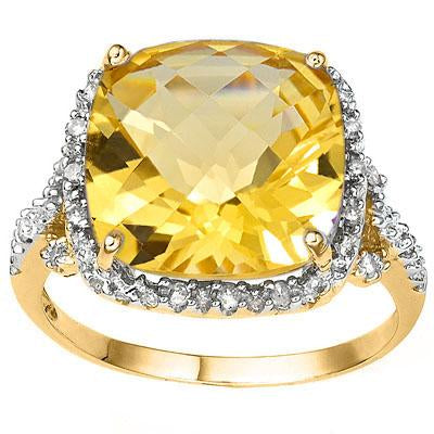 EXCELLENT 6.42 CT CITRINE & 18 PCS WHITE DIAMOND 10K SOLID YELLOW GOLD RING
