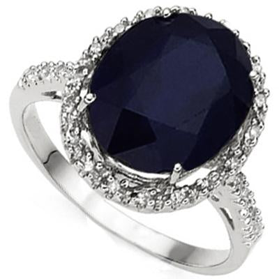 AWESOME 5.36 CT GENUINE BLACK SAPPHIRE & 22 PCS GENUINE DIAMOND 10K SOLID WHITE GOLD RING