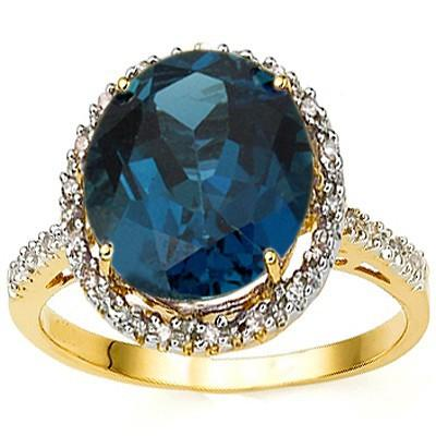 GORGEOUS 5.45 CT LONDON BLUE TOPAZ & 22 PCS GENUINE DIAMOND 10K SOLID YELLOW GOLD RING
