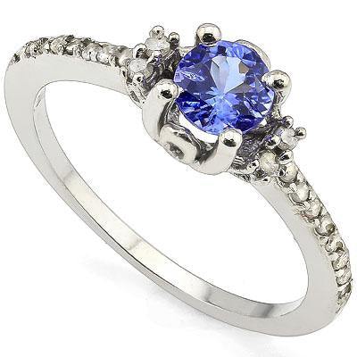 AWESOME 0.49 CT GENUINE TANZANITE & 4PCS GENUINE DIAMOND 10K SOLID WHITE GOLD RING