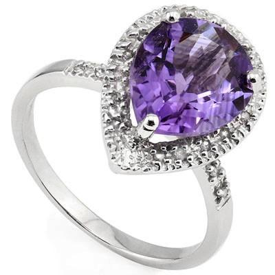 GREAT 2.63 CT AMETHYST & 18 PCS WHITE DIAMOND 10K SOLID WHITE GOLD RING