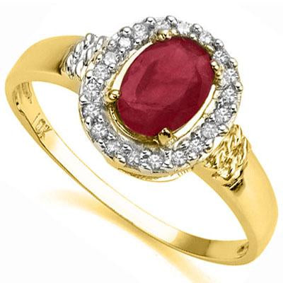 GLAMOROUS 1.03 CT GENUINE RUBY & 20 PCS GENUINE DIAMOND 10K SOLID YELLOW GOLD RING