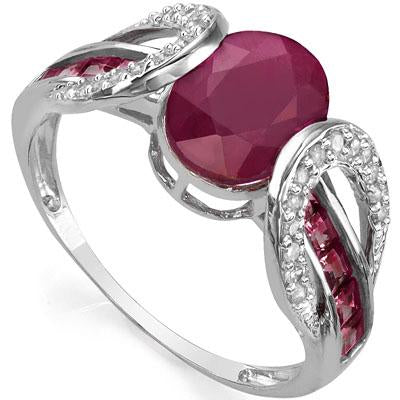 SPECTACULAR 1.73 CT AFRICA RUBY & 10PCS GENUINE RUBY 10K SOLID WHITE GOLD RING