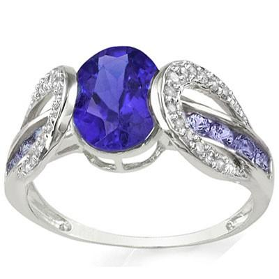 CLASSIC 1.02 CT GENUINE TANZANITE & 10 PCS GENUINE TANZANITE 10K SOLID WHITE GOLD RING