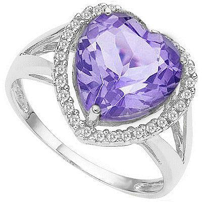 SMASHING 3.12 CARAT TW (31 PCS) AMETHYST & GENUINE DIAMOND 10K SOLID WHITE GOLD RING