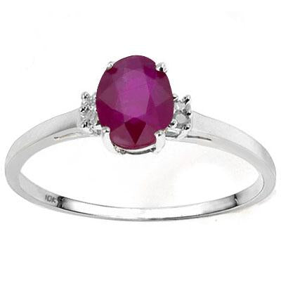 LOVELY 0.55 CT AFRICAN RUBY & 4PCS GENUINE DIAMOND 10K SOLID WHITE GOLD RING