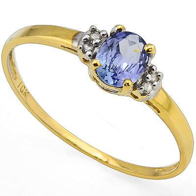 DAZZLING 0.52 CT GENUINE TANZANITE & 4 PCS GENUINE DIAMOND 10K SOLID YELLOW GOLD RING