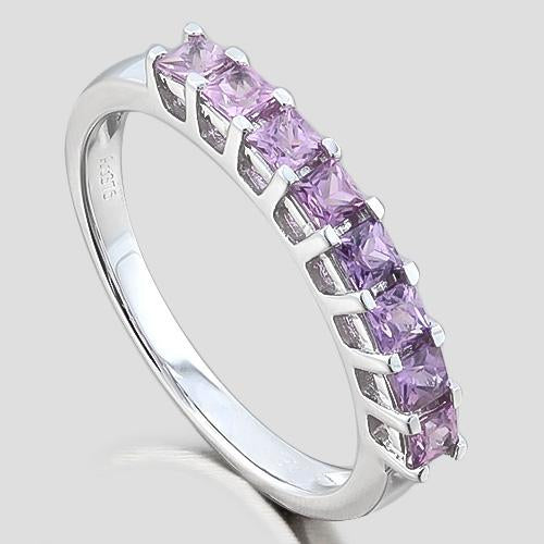 ELITE ! 3/4 CARAT (8 PCS) PURPLE SAPPHIRE 9KT SOLID GOLD BAND RING