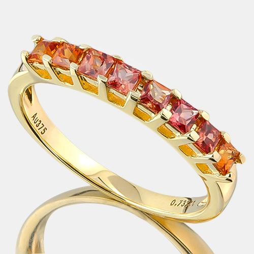 FOXY !  3/4 CARAT (8 PCS) ORANGE SAPPHIRE (VS)  9KT SOLID GOLD BAND RING