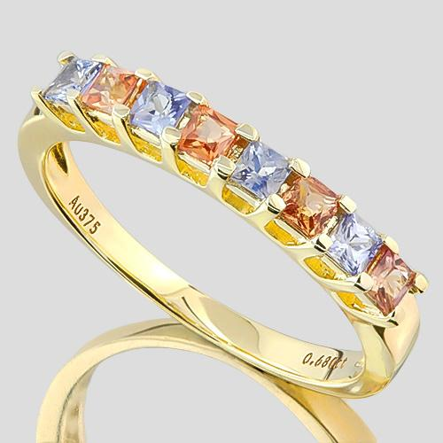 ADORABLE ! 3/4 CARAT (8 PCS) SAPPHIRE (VS) 9KT SOLID GOLD BAND RING