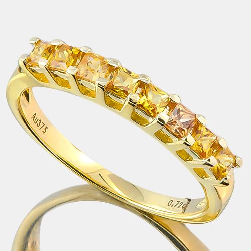 BRILLIANT ! 3/4 CARAT (8 PCS) YELLOW SAPPHIRE (VS) 9KT SOLID GOLD BAND RING