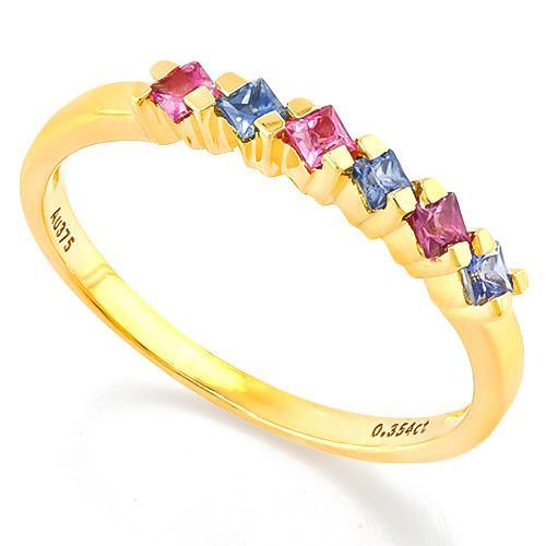 SUPERB ! 4/5 CARAT (6 PCS) SAPPHIRE (VS) 9KT SOLID GOLD BAND RING