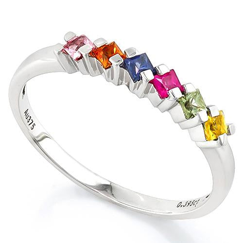 IMMACULATE ! 4/5 CARAT (6 PCS) RAINBOW SAPPHIRE (VS) 9KT SOLID GOLD BAND RING