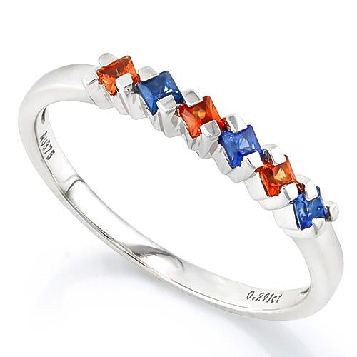 PRETTY !  4/5 CARAT (6 PCS) SAPPHIRE (VS) 9KT SOLID GOLD BAND RING