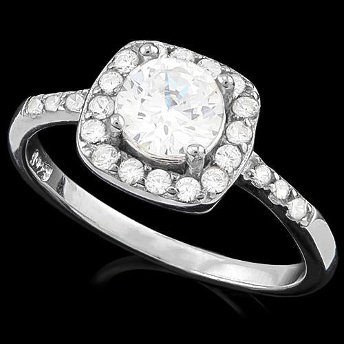 SMASHING ! 1 1/2 CARAT (27 PCS) FLAWLESS CREATED DIAMOND 925 STERLING SILVER RING