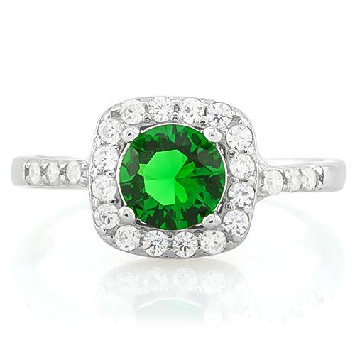 MARVELOUS ! 1 1/3 CARAT CREATED EMERALD & 1/4 CARAT (26 PCS) FLAWLESS CREATED DIAMOND 925 STERLING SILVER RING