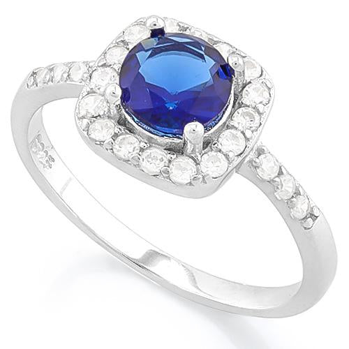 PRECIOUS ! 1 1/3 CARAT CREATED BLUE SAPPHIRE & 1/4 CARAT (26 PCS) FLAWLESS CREATED DIAMOND 925 STERLING SILVER RING